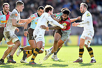Alofa Alofa of Harlequins takes on the Wasps defence. Aviva Premiership match, between Harlequins and Wasps on February 11, 2018 at the Twickenham Stoop in London, England. Photo by: Patrick Khachfe / JMP