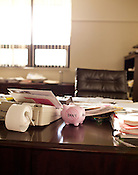 The desk of Jim Blaine, President & CEO of North Carolina State Employees Credit Union, Raleigh, N.C.