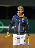 September 08, 2014,Netherlands, Amsterdam, Ziggo Dome, Davis Cup Netherlands-Croatia, Training Dutch Cup Team, Captain Jan Siemerink<br /> Photo: Tennisimages/Henk Koster