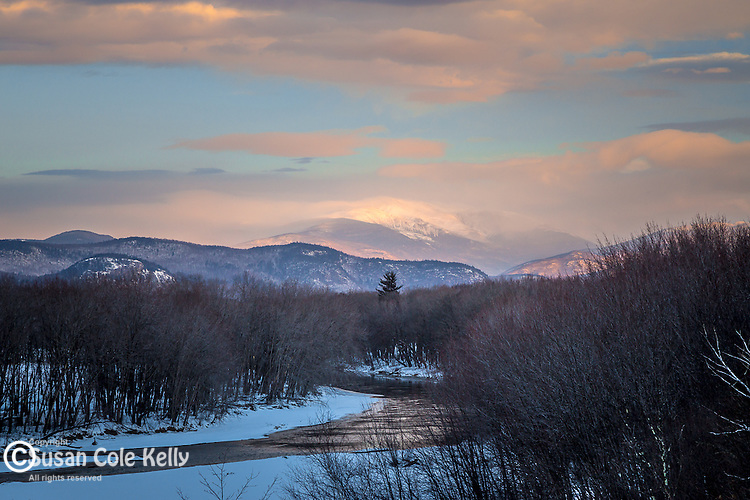 The Saco River and Mount Washington in the White Mountain National Forest, New Hampshire, USA