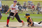 02 June 2017:  Alexandra Williams receives the ball just in time to force out a BlackCat runner after Ashley McKinney knocked down a hit and flicked it from the dirt.  Goreville Blackcats v Heyworth Hornets class 1A IHSA Class 1A Softball Semi-Final at Eastside Centre in East Peoria Illinois