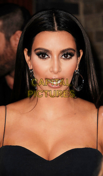 Kim Kardashian.The FiFi UK Fragrance Awards 2012 at The Brewery, Chiswell Street, London, England..May 17th 2012.headshot portrait blue black cleavage mouth open hoop earrings .CAP/WIZ.© Wizard/Capital Pictures.