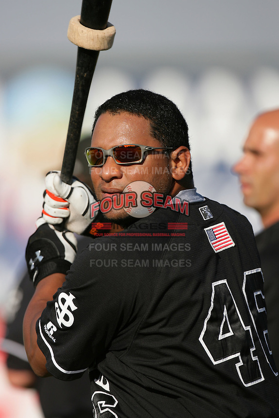 Michael Sandoval of the San Jose Giants during game against the Inland Empire 66'ers at Arrowhead Credit Union Park in San Bernardino,California on August 1, 2010. Photo by Larry Goren/Four Seam Images