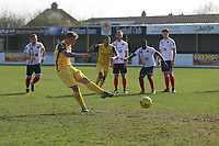 George Purcell of Hornchurch scores from the penalty during Witham Town vs AFC Hornchurch, Bostik League Division 1 North Football at Spa Road on 14th April 2018