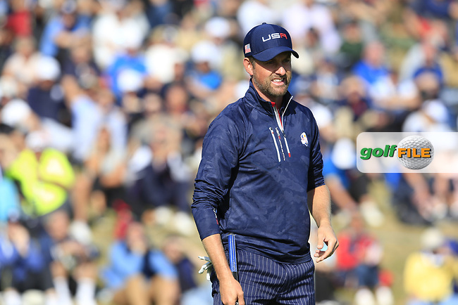 Webb Simpson (Team USA) on the 9th green during Saturday's Foursomes Matches at the 2018 Ryder Cup 2018, Le Golf National, Ile-de-France, France. 29/09/2018.<br /> Picture Eoin Clarke / Golffile.ie<br /> <br /> All photo usage must carry mandatory copyright credit (© Golffile | Eoin Clarke)