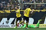 11.05.2019, Signal Iduna Park, Dortmund, GER, DFL, 1. BL, Borussia Dortmund vs Fortuna Duesseldorf, DFL regulations prohibit any use of photographs as image sequences and/or quasi-video<br /> <br /> im Bild Marcel Schmelzer (#29, Borussia Dortmund) Raphael Guerreiro (#13, Borussia Dortmund) Jubel / Freude / Emotion / Torjubel / Torschuetze zum 3:1 Mario Götze / Goetze (#10, Borussia Dortmund) <br /> <br /> Foto © nordphoto/Mauelshagen