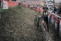 Thibau Nys (BEL) plunging in the mud<br /> <br /> Junior Men's Race<br /> Belgian National CX Championschips<br /> Kruibeke 2019