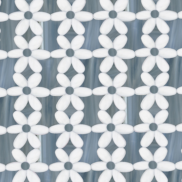 Daisies, a waterjet jewel glass mosaic, shown in Moonstone and Labradorite, is part of the Erin Adams Collection for New Ravenna Mosaics.