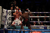 2nd February 2019 The O2 Arena, London, England; Boxing, European Super-Welterweight Championship, Sergio Garcia versus Ted Cheeseman; Undercard fight as Lawrence Okolie knocks Tamas Lodi down against the ropes
