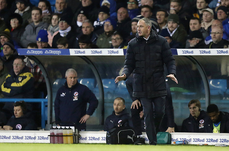 Reading manager Paul Clement reacts in the technical area<br /> <br /> Photographer Rich Linley/CameraSport<br /> <br /> The EFL Sky Bet Championship - Leeds United v Reading - Tuesday 27th November 2018 - Elland Road - Leeds<br /> <br /> World Copyright © 2018 CameraSport. All rights reserved. 43 Linden Ave. Countesthorpe. Leicester. England. LE8 5PG - Tel: +44 (0) 116 277 4147 - admin@camerasport.com - www.camerasport.com