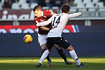 Andrea Belotti of Torino FC tussles with Takehiro Tomiyasu of Bologna during the Serie A match at Stadio Grande Torino, Turin. Picture date: 12th January 2020. Picture credit should read: Jonathan Moscrop/Sportimage