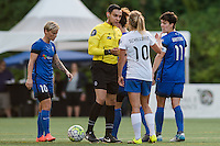 Seattle, Washington - Saturday, July 2nd, 2016: Boston Breakers midfielder Louise Schillgard (10) and Seattle Reign FC midfielder Keelin Winters (11) during a regular season National Women's Soccer League (NWSL) match between the Seattle Reign FC and the Boston Breakers at Memorial Stadium. Seattle won 2-0.