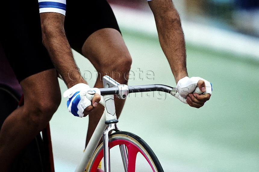 Close up of a cyclist on bike