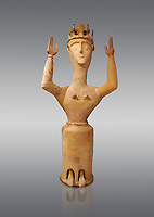 Minoan Postpalatial terracotta  goddess statue with raised arms and crown,  Karphi Sanctuary 1200-1100 BC, Heraklion Archaeological Museum, grey background. <br /> <br /> The Goddesses are crowned with symbols of earth and sky in the shapes of snakes and birds, describing attributes of the goddess as protector of nature.