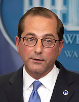 United States Secretary of Health and Human Services Alex Azar briefs reporters on US President Donald J. Trump blueprint to lower drug prices in the Brady PressBriefing Room of the White House in Washington, DC on Friday, May 11, 2018.CAP/MPI/RS<br /> &copy;RS/MPI/Capital Pictures