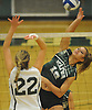 Seaford No. 16 Sophie Dandola, right, attempts to spike during the Nassau County varsity girls' volleyball Class B final against Lynbrook at SUNY Old Westbury on Wednesday, Nov. 11, 2015. Seaford won by a score of 3-0.<br /> <br /> James Escher