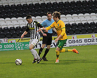 Lewis Morgan being closed down by Filip Twardzik in the St Mirren v Celtic Scottish Professional Football League Under 20 match played at St Mirren Park, Paisley on 30.4.14.