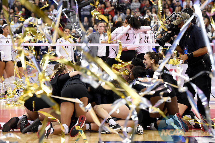 COLUMBUS, OH - DECEMBER 17:  Stanford University celebrates their victory over the University of Texas during the Division I Women's Volleyball Championship held at Nationwide Arena on December 17, 2016 in Columbus, Ohio.  Stanford beat Texas 3-1 to win the national title. (Photo by Jamie Schwaberow/NCAA Photos via Getty Images)