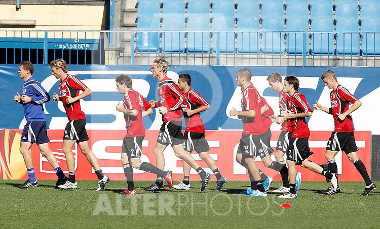 Bayer Leverkusen's players during trainning previous to Europa League match. September 29, 2010. (ALTERPHOTOS/Alvaro Hernandez)