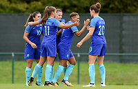 20170914 - TUBIZE ,  BELGIUM : Dutch team pictured celebrating their 0-2 lead during the friendly female soccer game between the Belgian Red Flames and European Champion The Netherlands , a friendly game in the preparation for the World Championship qualification round for France 2019, Thurssday 14 th September 2017 at Euro 2000 Center in Tubize , Belgium. PHOTO SPORTPIX.BE | DAVID CATRY