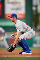 Buffalo Bisons first baseman Patrick Kivlehan (14) during an International League game against the Rochester Red Wings on May 31, 2019 at Frontier Field in Rochester, New York.  Rochester defeated Buffalo 5-4 in ten innings.  (Mike Janes/Four Seam Images)