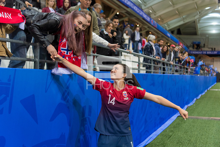 REIMS, FRANCE - JUNE 8: Fans congratulate Ingrid Syrstad Engen #14 of Norway after 2019 FIFA Women's World Cup match between Norway and Nigeria at Stade Auguste-Delaune on June 8, 2019 in Reims, France.
