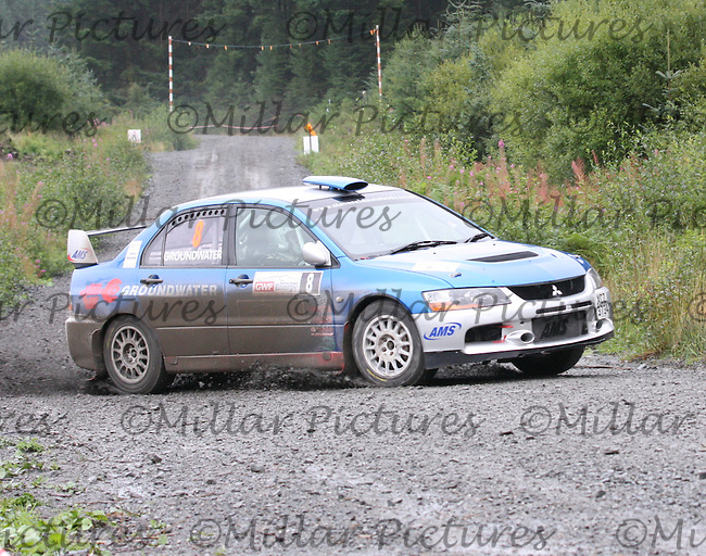 Barry Groundwater - Neil Shanks at Junction 9 on Special Stage 1 Moorfield Motor Services Craignell of the GWF Energy Merrick Stages Rally 2013, Round 7 of the RAC MSA Scotish Rally Championship which was organised by Machars Car Club and Scottish Sporting Car Club and based in Wigtown on 7.9.13.