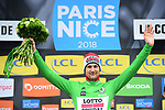 Tim Wellens (BEL) Lotto-Soudal takes over the points Green Jersey at the end of Stage 7 of the 2018 Paris-Nice running 175km from Nice to Valdeblore la Colmiane, France. 10th March 2018.<br /> Picture: ASO/Alex Broadway | Cyclefile<br /> <br /> <br /> All photos usage must carry mandatory copyright credit (&copy; Cyclefile | ASO/Alex Broadway)