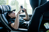 Matteo Trentin (ITA/Mitchelton Scott) relaxing in the teambus ahead of his roll-out at Stage 5 (ITT): Barbentane to Barbentane (25km)<br /> 77th Paris - Nice 2019 (2.UWT)<br /> <br /> ©kramon