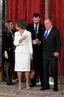 Spain's princess Letizia, Queen Sofia, crown Prince Felipe and King Juan Carlos I during audiences. February 13, 2013. (ALTERPHOTOS/Alvaro Hernandez) /NortePhoto