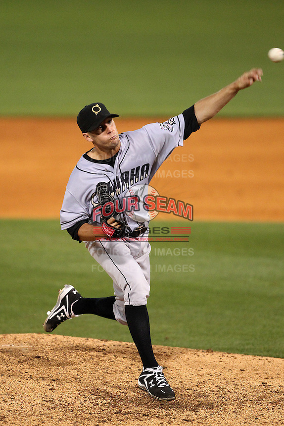 Omaha Storm Chasers starting pitcher Everett Teaford #17 delivers a pitch during a game against the Nashville Sounds at Greer Stadium on April 25, 2011 in Nashville, Tennessee.  Omaha defeated Nashville 2-1.  Photo By Mike Janes/Four Seam Images