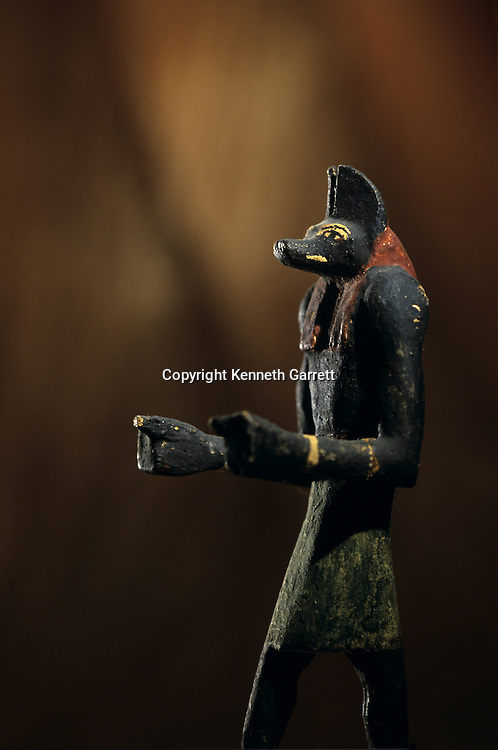 Wooden Anubis statue found at Ain el-Lebekha, Darb el-Arbaein, trade route, Anubis is the watcher of the road, Egypt; Archaeologist; Salima Ikram; Kharga Oasis;Ancient Cultures; mm7195; Desert; Oasis, Kharga Regional Museum