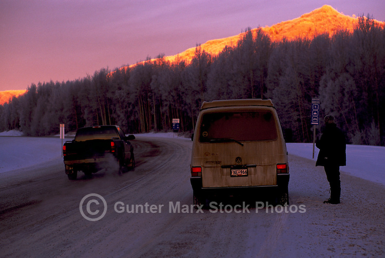 Alaska Highway, Northern Rockies, BC, British Columbia, Canada - near Liard River Hot Springs Provincial Park, Sunrise