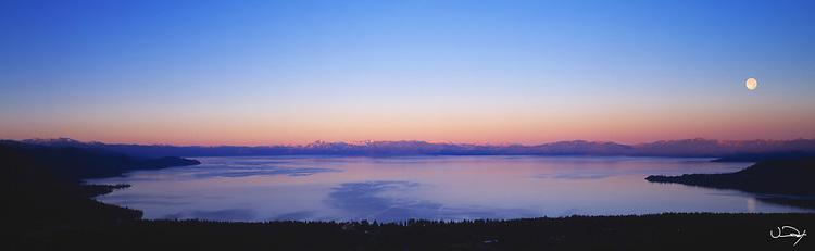 Lake Tahoe Scenic Moon Panorama