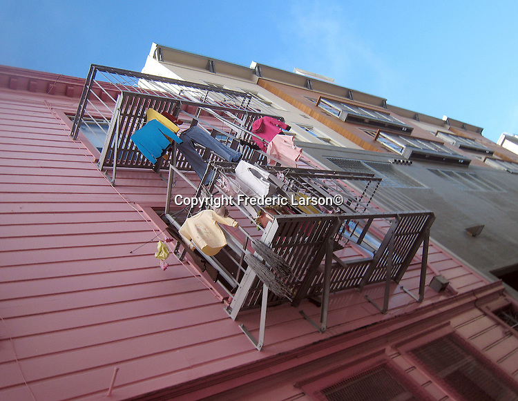 Laundry being dried on a balcony in North Beach district of San Francisco, California.