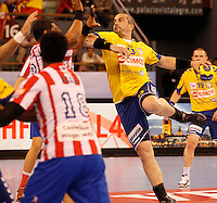 28.04.2012 MADRID, SPAIN -  EHF Champions League match played between BM At. Madrid vs  Cimos Koper (31-24) at Palacio Vistalegre stadium. The picture show Milorad Krivokapic (Center of Cimos Koper)