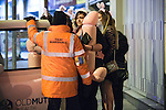 "© Joel Goodman - 07973 332324 . Manchester , UK . 05/04/2015 . Women queue to board a taxi opposite "" The Printworks "" in Manchester City Centre . Revellers on a Saturday night out during the Easter Bank Holiday weekend . Photo credit : Joel Goodman"