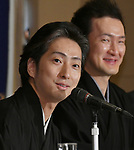 """April 26, Tokyo, Japan - Japanese kabuki actor Nakamura Shichinosuke speaks during a news conference at Tokyo Foreign Correspondents Club of Japan on Thursday, April 26, 2018. Nakamura will perform kabuki in the """"Japonismes 2018, a cultural expo starting in Paris and surrounding areas in July to celebrate the 160th anniversary of?Japan-France?diplomatic relations. Background is also kabuki actor Nakamura Shido.  (Photo by Natsuki Sakai/AFLO) AYF -mis-"""