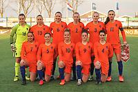 20180326 - VEEN , THE NETHERLANDS : team of The Netherlands with Claire Dinkla (16)   Lieske Carleer (2)   Gwyneth Hendriks (3)   Floor van Loon (4)   Lotte Jansen (5)   Jonna van de Velde (6)   Chasity Grant (7)   Nikita Tromp (9)   Kirsten van de Westeringh (10)   Romee Leuchter (11)   Dana Foederer (13)   pictured during the UEFA Women Under 17 Elite round game between The Netherlands WU17 and Portugal WU17, on the second matchday in group 1 of the Uefa Women Under 17 elite round in The Netherlands , monday 26 th March 2018 . PHOTO SPORTPIX.BE    DIRK VUYLSTEKE