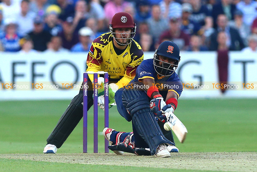 Ashar Zaidi in batting action for Essex as Steven Davies looks on from behind the stumps during Essex Eagles vs Somerset, NatWest T20 Blast Cricket at The Cloudfm County Ground on 13th July 2017