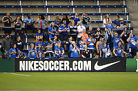 Kansas City, Kansas - Saturday April 16, 2016: Members of the FC Kansas City Blue Crew cheer against Western New York Flash at Children's Mercy Park. Western New York won 1-0.