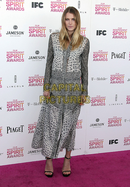 Dree Hemingway.2013 Film Independent Spirit Awards - Arrivals Held At Santa Monica Beach, Santa Monica, California, USA,.23rd February 2013..indy indie indies indys full length print shirt dress grey gray white.CAP/ADM/RE.©Russ Elliot/AdMedia/Capital Pictures