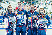 Team United States USA<br /> MURPHY Ryan, CORDES Kevin, MCLAUGHLIN Katie, GEER Margo<br /> Mixed 4X100 Medley Relay Silver Medal<br /> Swimming - Kazan Arena<br /> Day13 05/08/2015<br /> XVI FINA World Championships Aquatics Swimming<br /> Kazan Tatarstan RUS July 24 - Aug. 9 2015 <br /> Photo A.Masini/Deepbluemedia/Insidefoto
