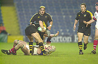 London. Great Britain,  Wasps No.8 Mark Lock is held by Paddy Johns, during the Heineken Cup. London Wasps v Ulster Match, played at Loftus Road, West London. 06/01/2002.  [Mandatory Credit;  Peter Spurrier/Intersport Images]..