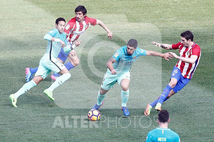 Atletico de Madrid's Stefan Savic (2l) and Sime Vrsaljko (r) and FC Barcelona's Neymar Santos Jr (l) and Luis Suarez during La Liga match. February 26,2017. (ALTERPHOTOS/Acero)
