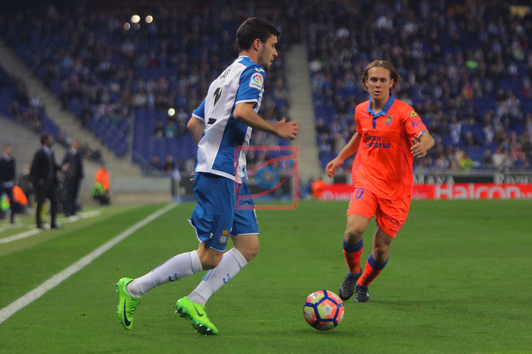 League Santander 2016/2017. Game: 27.<br /> RCD Espanyol vs UD Las Palmas: 4-3.<br /> Aaron vs Alen Halilovic.