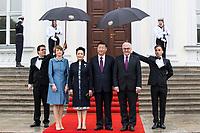 Elke Büdenbender, Peng Liyuan, Xi Jinping und Frank-Walter Steinmeier beim Empfang des Staatspräsidenten der Volksrepublik China Jinping im Schloss Bellevue. Berlin, 05.07.2017
