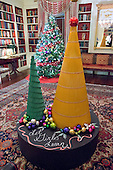 """The 2016 White House Christmas decorations are previewed for the press at the White House in Washington, DC on Tuesday, November 29, 2016. The Gift of Education is brought to life in The Library, highlighting the more than 2,700 books housed there. Rulers will rim the base of the holiday trees while crayons and pencils create additional standalone trees. The colorful ornaments on display will spell out the word """"girls"""" in 12 different languages, paying homage to the First Lady's Let Girls Learn initiative. The first lady's office released the following statement to describe those decorations, """"This year's holiday theme, 'The Gift of the Holidays,' reflects on not only the joy of giving and receiving, but also the true gifts of life, such as service, friends and family, education, and good health, as we celebrate the holiday season.""""<br /> Credit: Ron Sachs / CNP"""