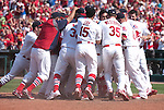 19 June 2011                Cardinal players swarm over St. Louis Cardinals second baseman Skip Schumaker after he hit a walk-off home run to win the game for the Cardinals in the bottom of the ninth inning. The St. Louis Cardinals defeated the Kansas City Royals 5-4 in the final game of a three-game series on Sunday June 19, 2011 at Busch Stadium in downtown St. Louis.