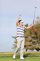 23 JAN 13  Keegan Bradley celebrates during The Farmers Insurance Open at Torrey Pines Golf Course in La Jolla, California. (photo:  kenneth e.dennis / kendennisphoto.com)